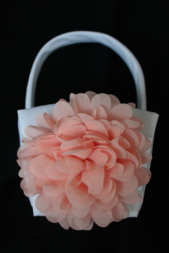 Ivory or White Flower Girl Basket Chiffon Chrysanthemum in PEACH
