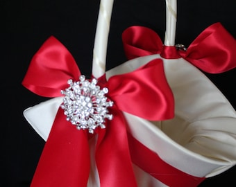 """Large-White or Ivory Satin Flower Girl Basket  RED Satin Ribbon and 2"""" Rhinestone Accent-Custom Colors-Change the Brooch"""