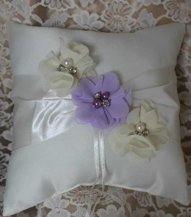 Cream or White Ring Bearer Pillow Lavender Chiffon Flower Accented with Rhinestone and Pearls