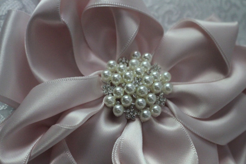 More colors Available BlushPale PinkSideshow Rose Satin Bow-Measures 5 12 long