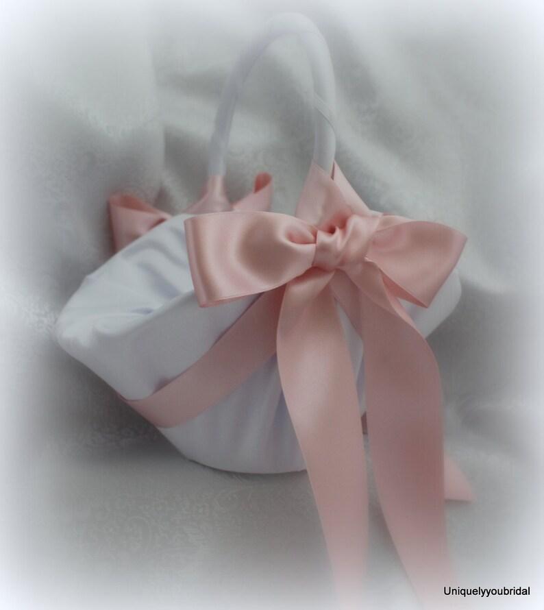74a05279d174d Larger-White/Ivory Satin Flower Girl Basket Deluxe Satin | Etsy
