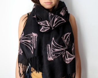 Silk Blend Sailboat Hand-Printed Scarf Pink/Black
