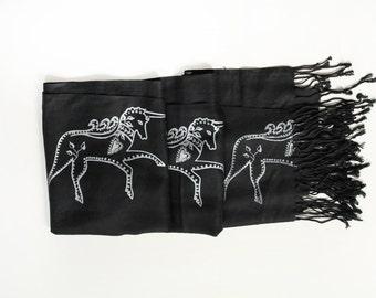 SIlk Blend Printed Folk Unicorn Scarf Black/Silver