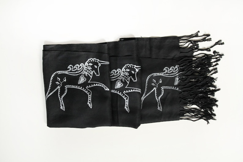 SIlk Blend Printed Folk Unicorn Scarf Black/Silver image 0