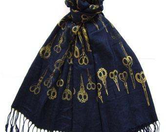 Silk Blend Antique Scissor Scarf  (Gold Navy)