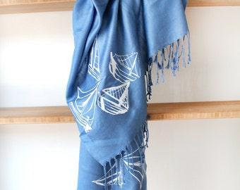 Silk Blend Sailboat Hand-Printed Scarf