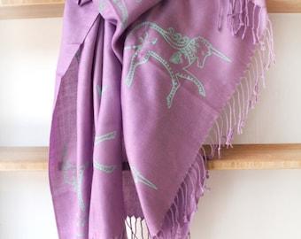 SIlk Blend Printed Folk Unicorn Scarf Orchid/Green