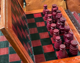 SALE - Queens Gambit Folding Chess Set African Chess Set Wood Carved Pieces Leather & Wood Folding Board w/leather case