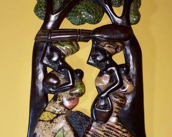 African Wood Carving Wall Hanging Hand carved one of a kind Sandoodles handmade Mama Africa African Mothers