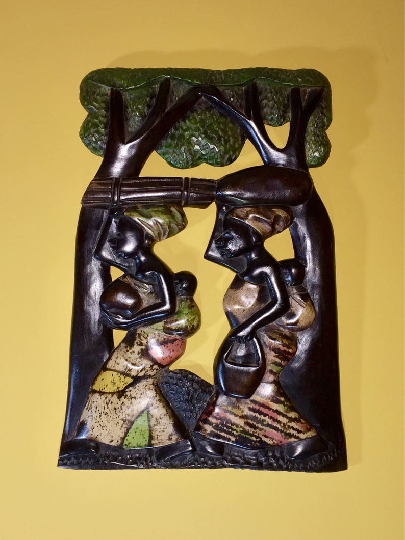 Sale African Wood Carving Wall Hanging Hand Carved One Of A Kind Sandoodles Handmade Mama Africa African Mothers