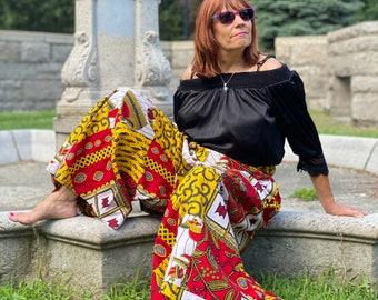 African Ankara Wax Print Fabric Wide Leg Pants/Skirt Africa Pants
