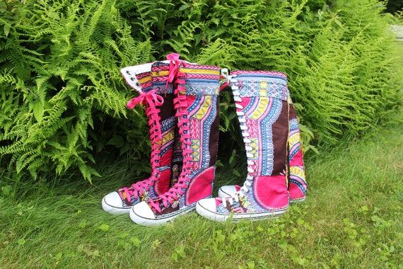 Size 10 Sneaker boots, Funky Boots, Dashiki, Angelina, Angelina, Angelina, Ankara African Shoes, African Boots, OOAK, Sandoodles Bootz, Patchwork, Fair Trade | Léger  c7f251