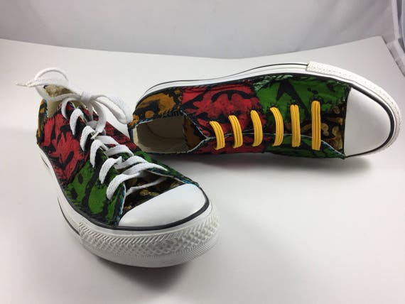 dd4f39f7d91b Size 10 US Women Size 8 Men sneakers Africanized batik