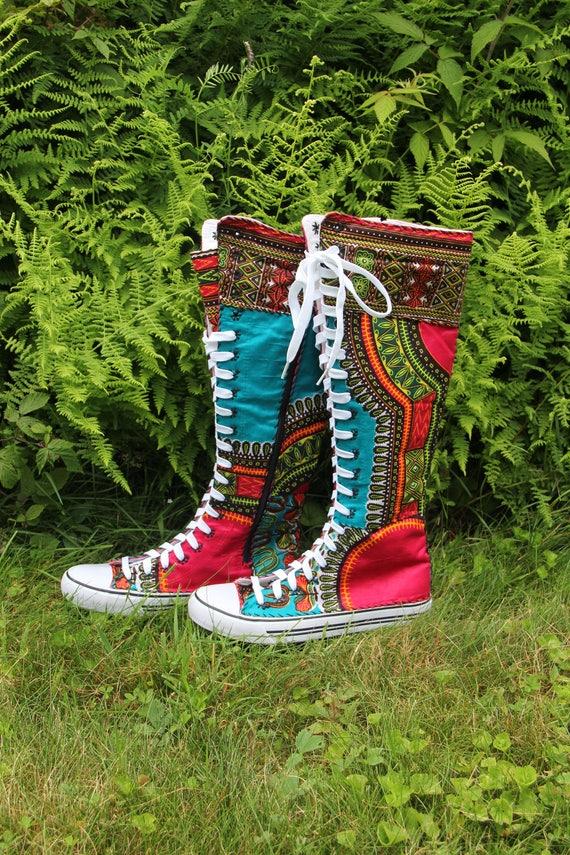 Size 9 African Sneaker Boots, Funky Boots, Dashiki, Angelina, African African African Boots, OOAK, Sandoodles Bootz, Patchwork, Fair Trade   être Dans L'utilisation  ef5999