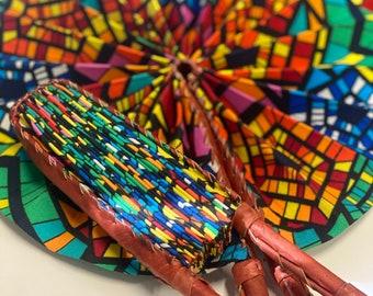 African Ankara Fabric Fan leather fold-up fan Sandoodles