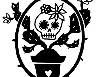 Day of the Dead skull and Cactus vinyl sticker decal car window sticker