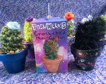 Mini Mystery Galaxy Crocheted Cactus in handmade box