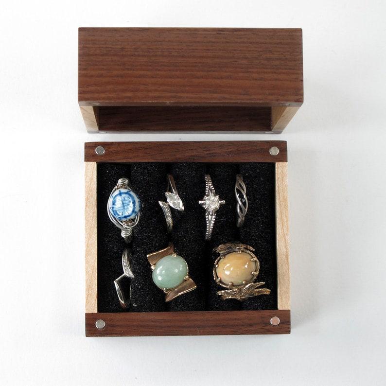 Handmade Multiple Ring Box of Walnut, Oak, Maple Hardwoods