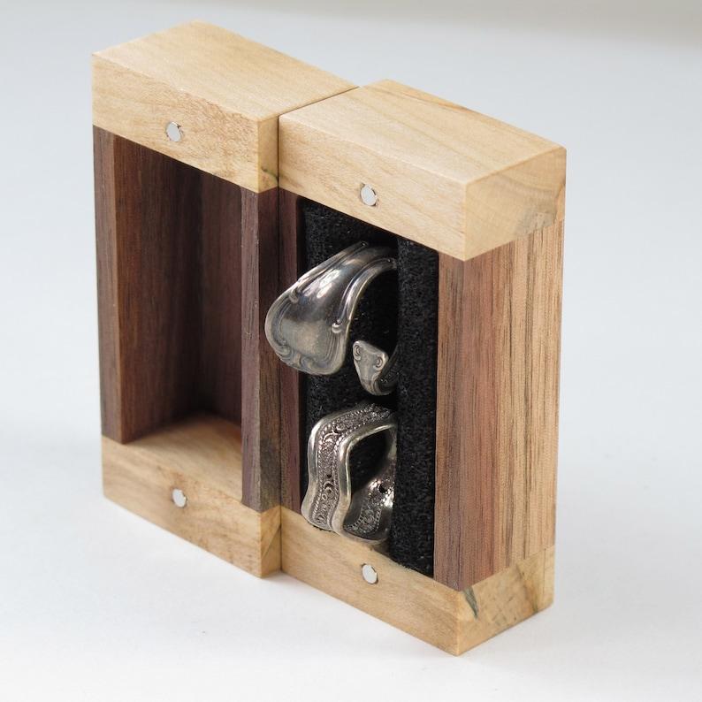 2 Large Ring Box Walnut and Maple Wood