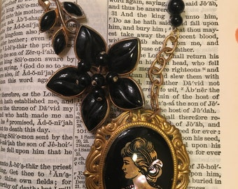 Vintage Cameo Brooch Assemblage Necklace Black Cameo Black Flower repurposed Necklace Beaded Handmade Jewelry UPcycled