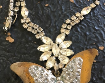 Vintage Rhinestone Assemblage Necklace Butterfly Pendant
