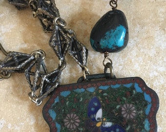Antique Inlaid Stone Buckle with Butterfly Turquoise Nuggets and Vintage Chain Assemblage Necklace