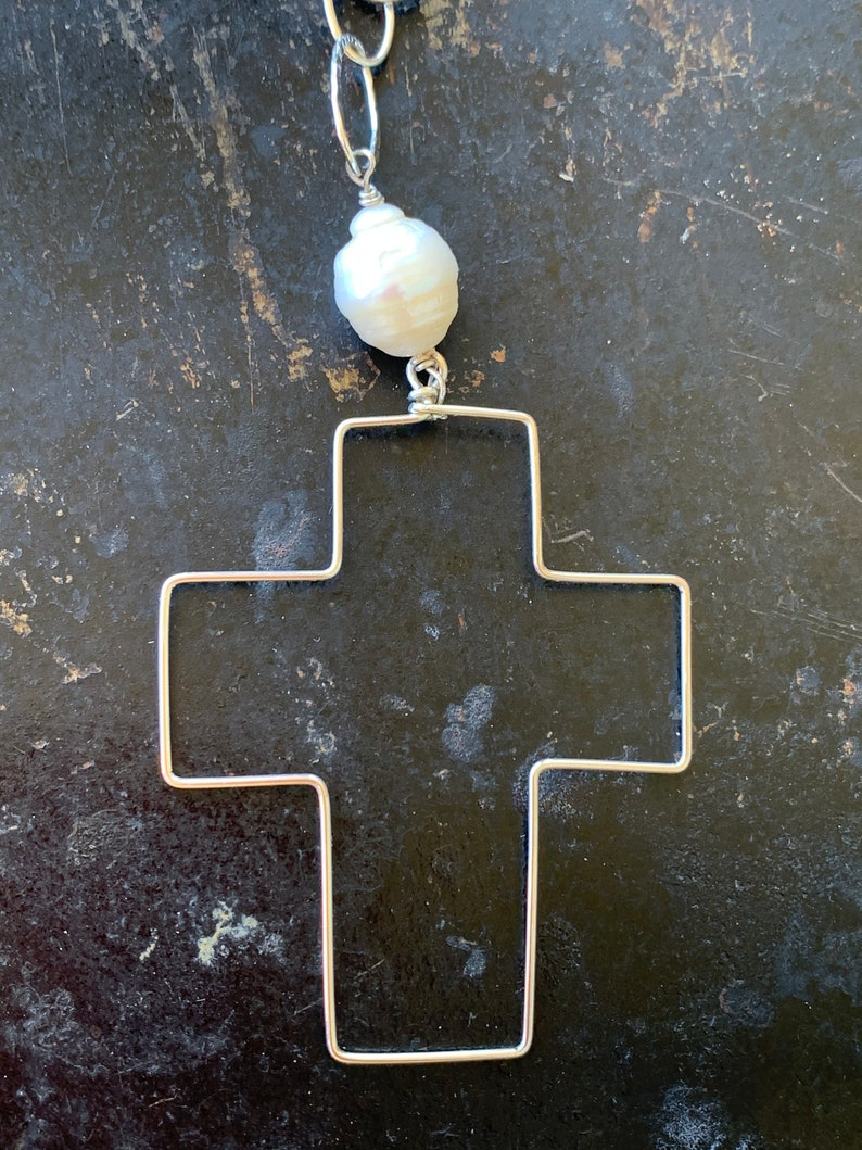 BELIEVE Sterling Silver Cross Pendants with Baroque Pearl