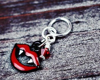 Bite Me! - Vampire Kiss - Enamel & Swarovski Crystal - Knit/Knitting or Crochet - Individual Stitch Marker or Place Holder