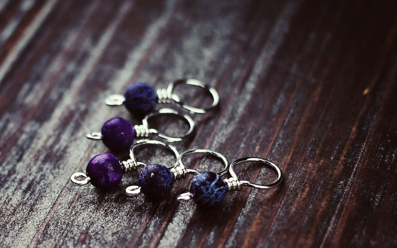 SALE!! Gift Gifts for Knitters Genuine Purple Sugilite Sterling SilverCopperBrass KnitKnitting Stitch Markers Set of 5