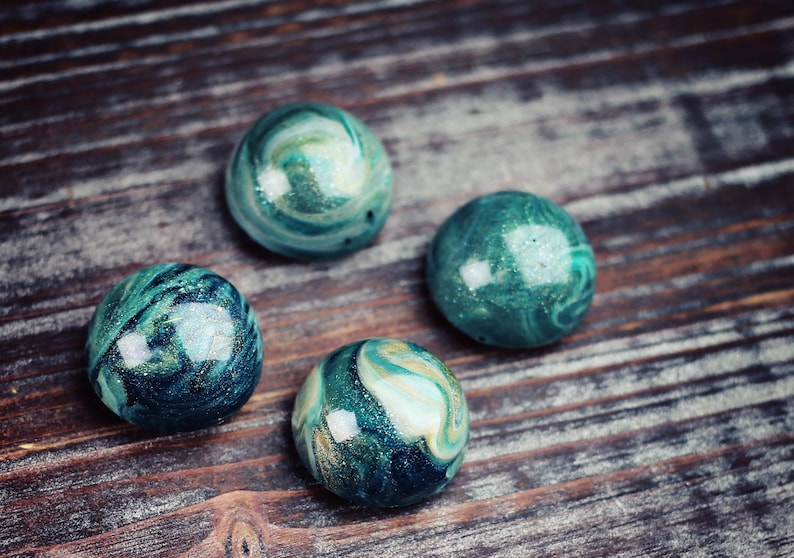 Abstract Art OOAK Gifts for Magnet Collectors Waterway Strong Magnets Small 1 Dome Magnets Mica Set of 4 Resin Art