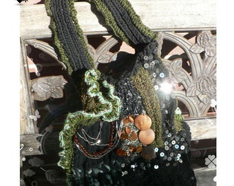 Unique Ecletic Earthy Chunky Funky Green Knitted Purse