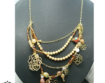 Chinois Charm Amber and Gold Layered Necklace