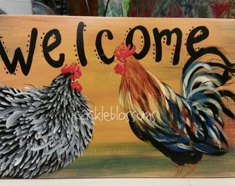 """11"""" X 22"""" #410-W Chicken Coop Sign Welcome Rooster and Hen Art"""
