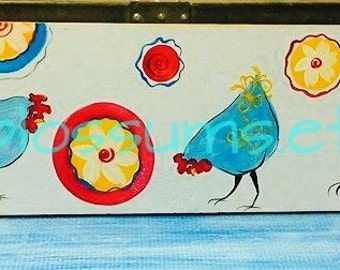 """7.5"""" X 40""""  #750 Acrylic Painting on Wood Fun And Funky Chicken Sign Coop Decor"""