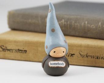 Clay Gnome Figurine- Homebody, Home Decor, Unique Gift Idea
