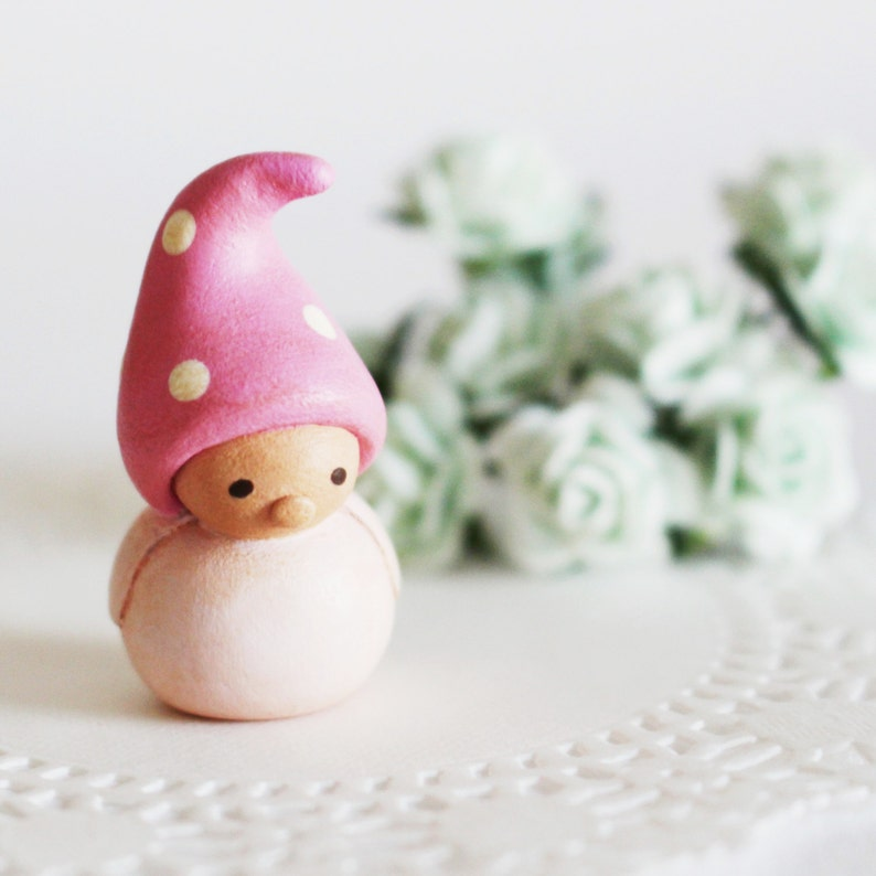 Wee Companion Gnome a miniature clay sculpture by humbleBea image 0