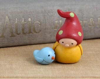 Bea's Wees Gnome and Bluebird- Miniature Tiny Art Sculptures