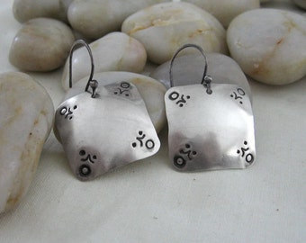 Silver Stamped Square Earrings