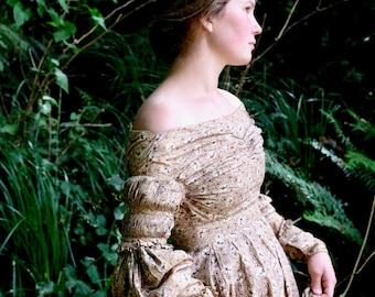 1830s Cotton Print Dress XS