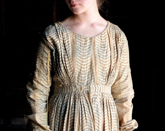 1840s 1850s Cotton Print Dress