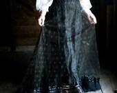 """Antique Black Lace Skirt 22"""" 23"""" Waist"""