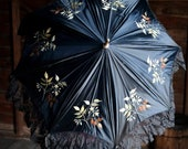 Victorian 1885 Floral Embroidered Silk Parasol