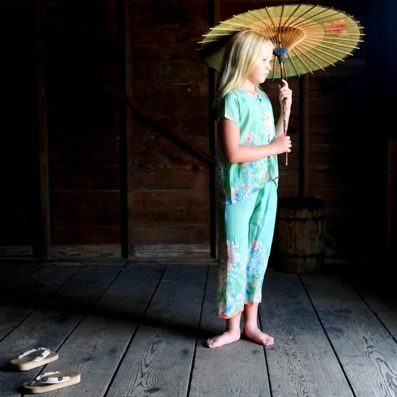 1930s Girl's Silk Beach Pajamas Size 7 to 8