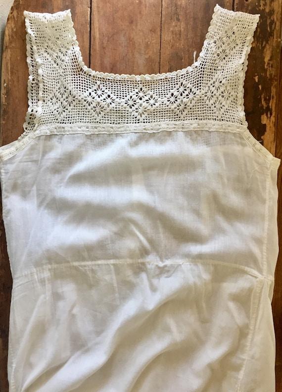 Vintage White Cotton Underdress with Crochet Yoke… - image 9