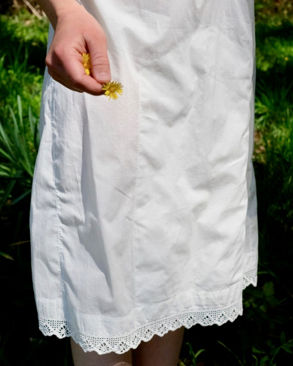 Vintage White Cotton Underdress with Crochet Yoke… - image 8