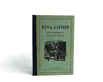 Antique Children's First Grade Primer Finnish American Schoolbook