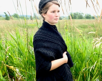 Great Granny's Black Wool Crochet Shawl