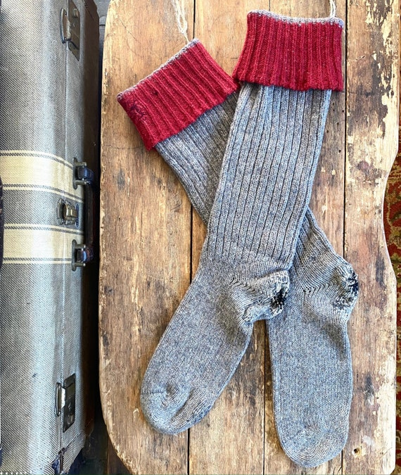 Early Men's Red Cuff Hand Knit Stockings