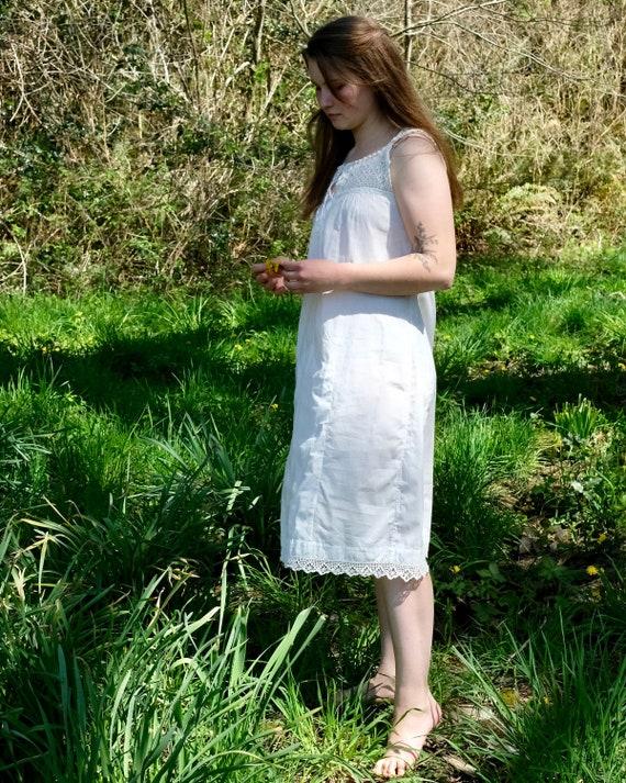 Vintage White Cotton Underdress with Crochet Yoke… - image 4