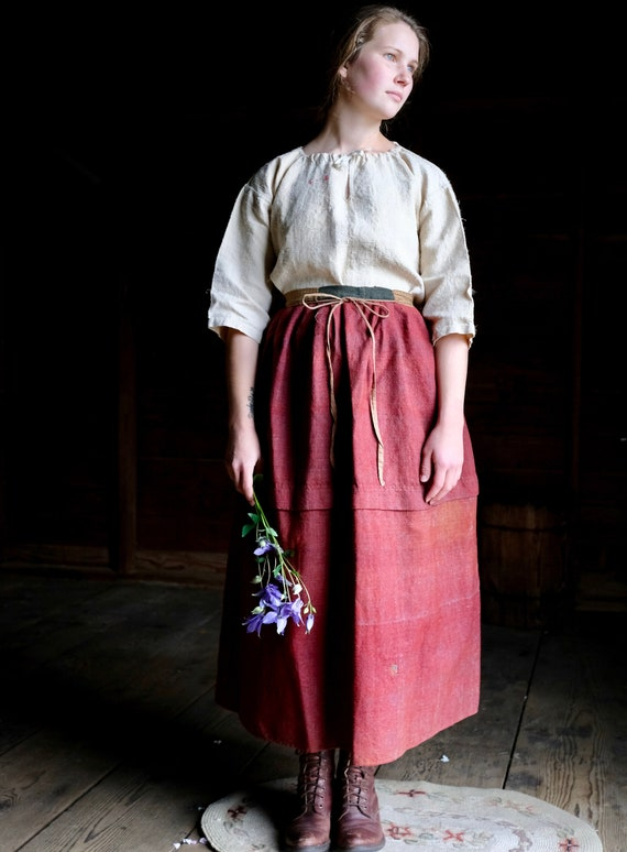 """Antique Red Wool Rural Clothing Petticoat 34"""" Wais"""